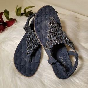 SIKETU Blue Bohemian Rhinestone Sandals Size 8